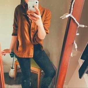 Tops - VTG tan brown suede-feel soft blazer button down